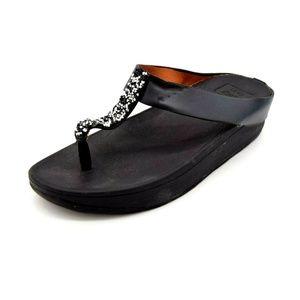 Lucky Feet Womans Thong Wedge Sandal 9 Black New